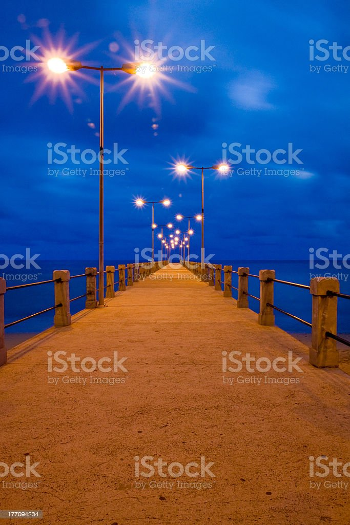 Pier in Porto Santo by twilight royalty-free stock photo