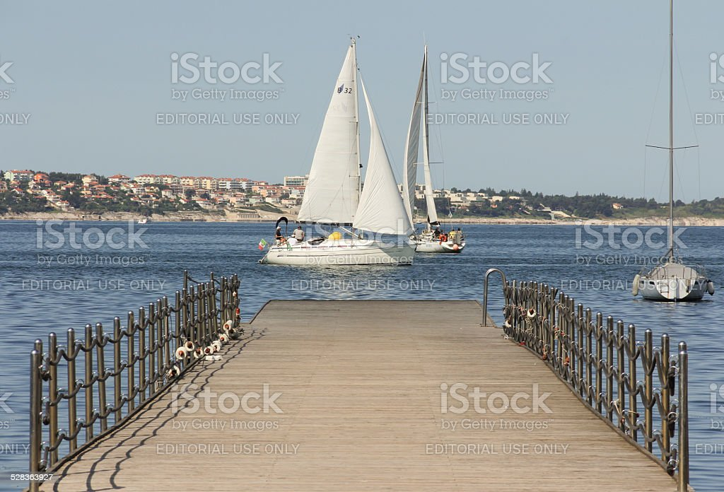 Pier in Portoro? - Portorose stock photo