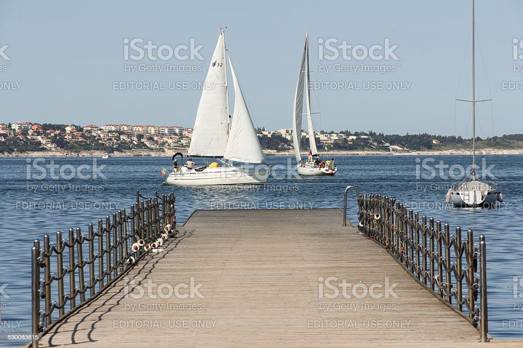 Pier in Portorož - Portorose stock photo