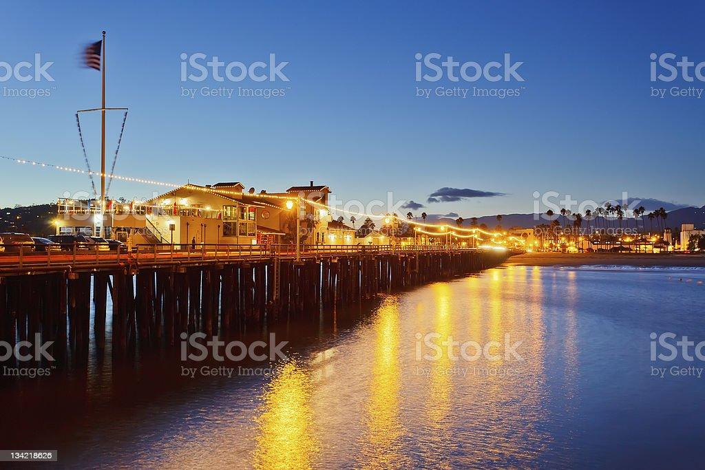 Pier in Santa Barbara at night stock photo