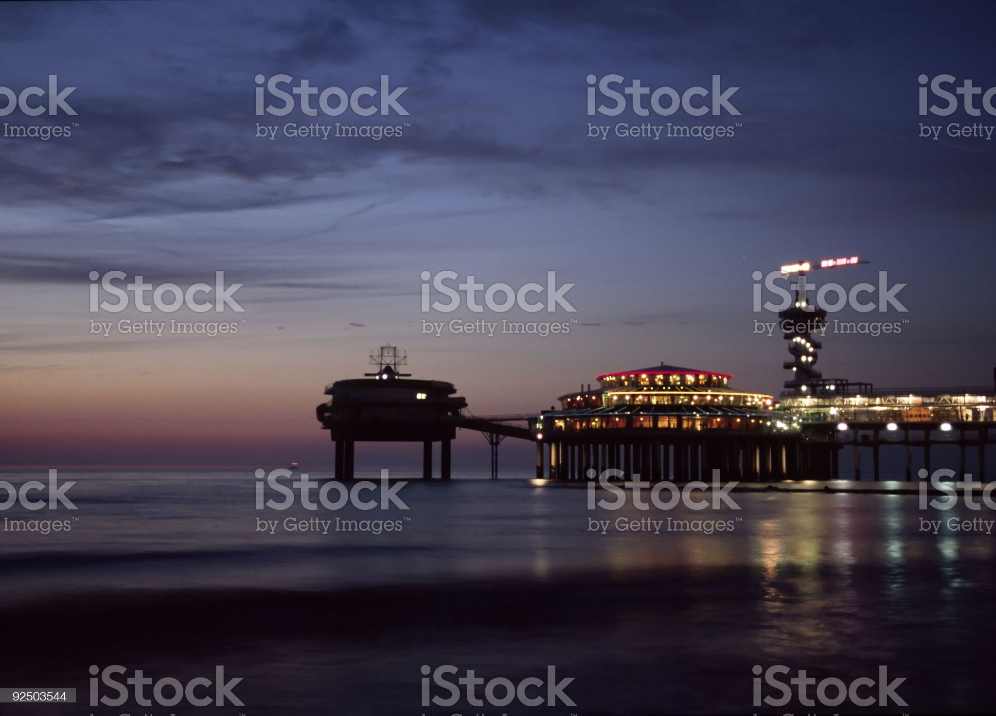 Pier in Schevening at night royalty-free stock photo