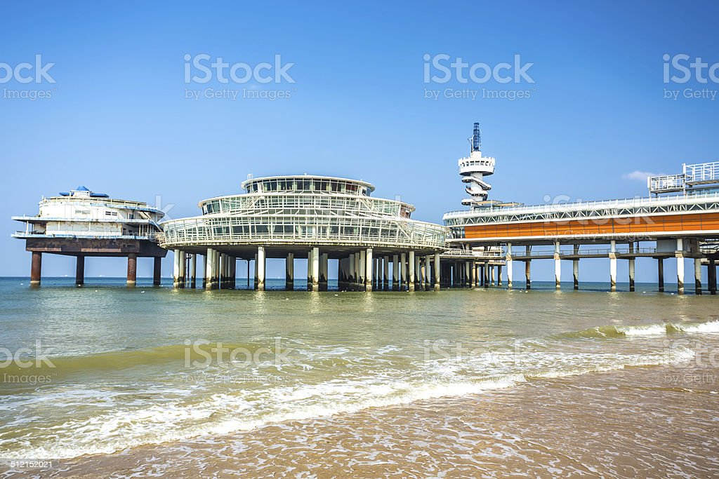 Pier in Scheveningen, close to The Hague / Netherlands stock photo
