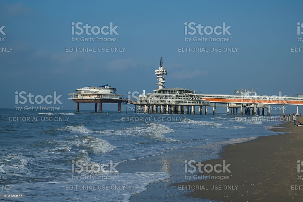 Pier in Scheveningen stock photo