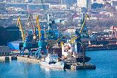 Pier in the cargo terminal of sea port.