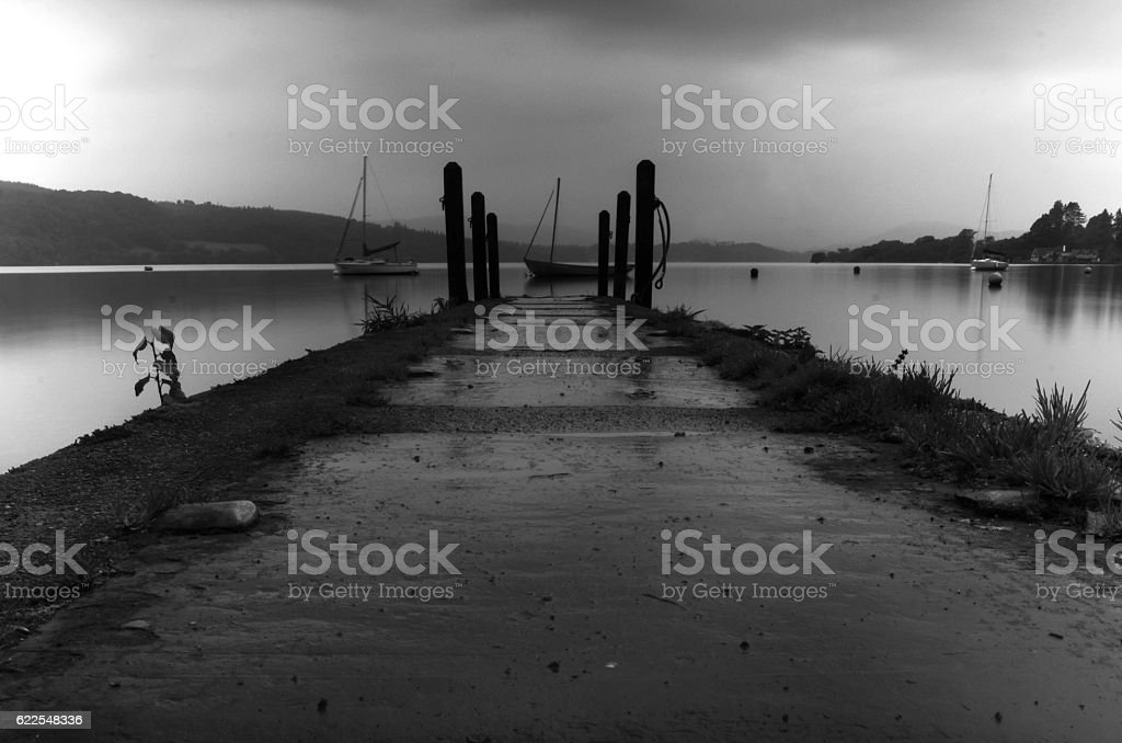 pier in the lake distrect stock photo
