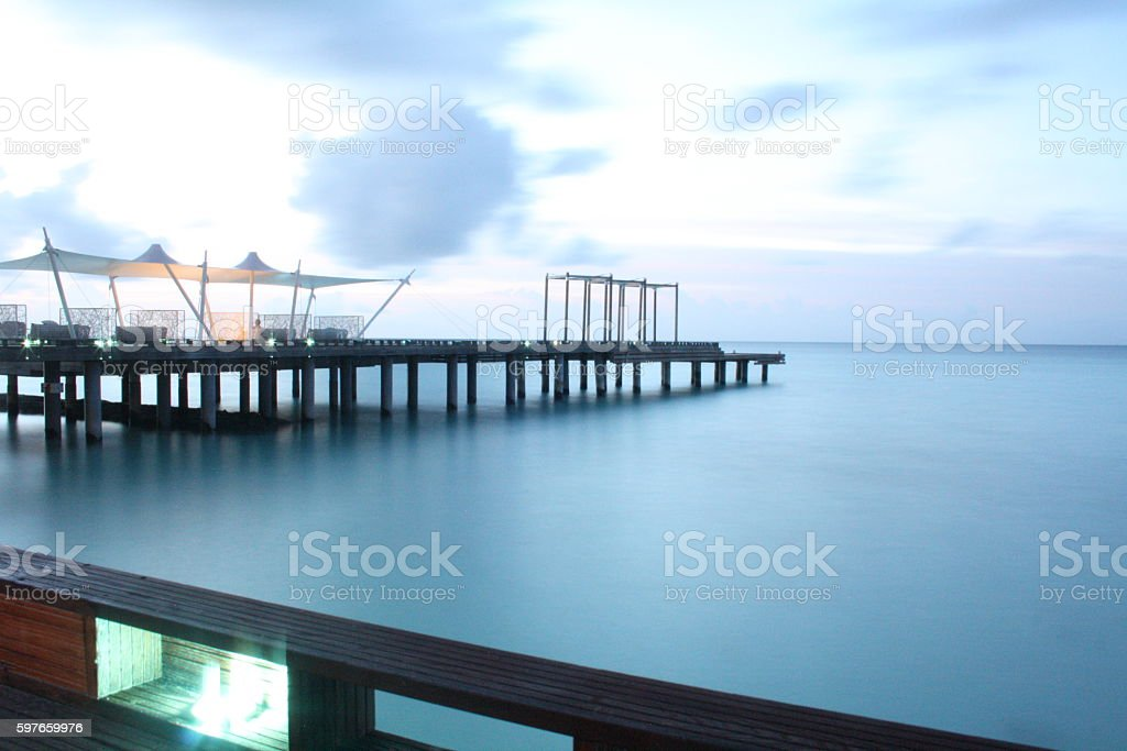 Pier in the Maldives, Indian Ocean stock photo