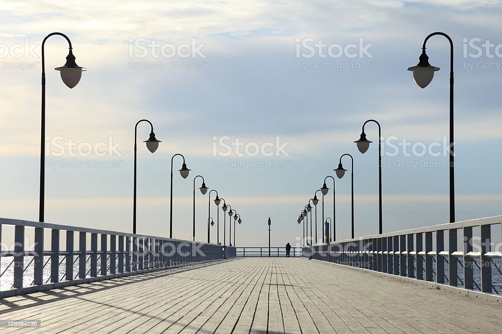 Pier in the morning. stock photo