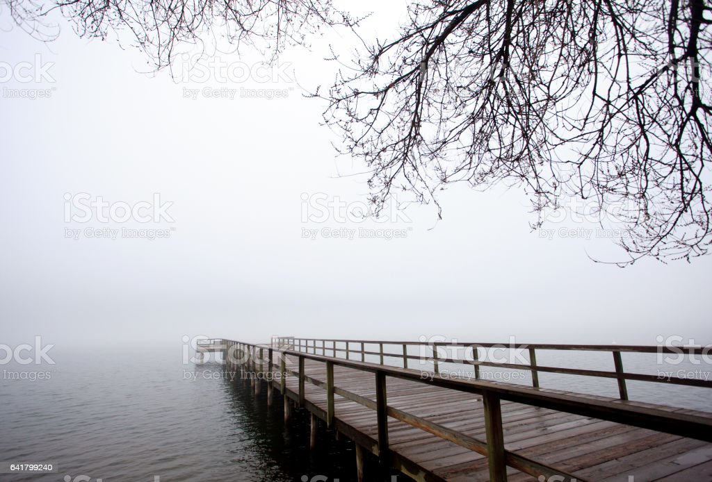 Pier in Winter in Thompson Okanagan stock photo