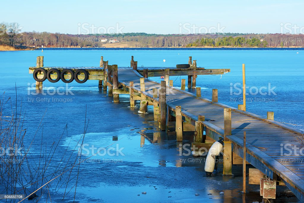Pier in winter stock photo