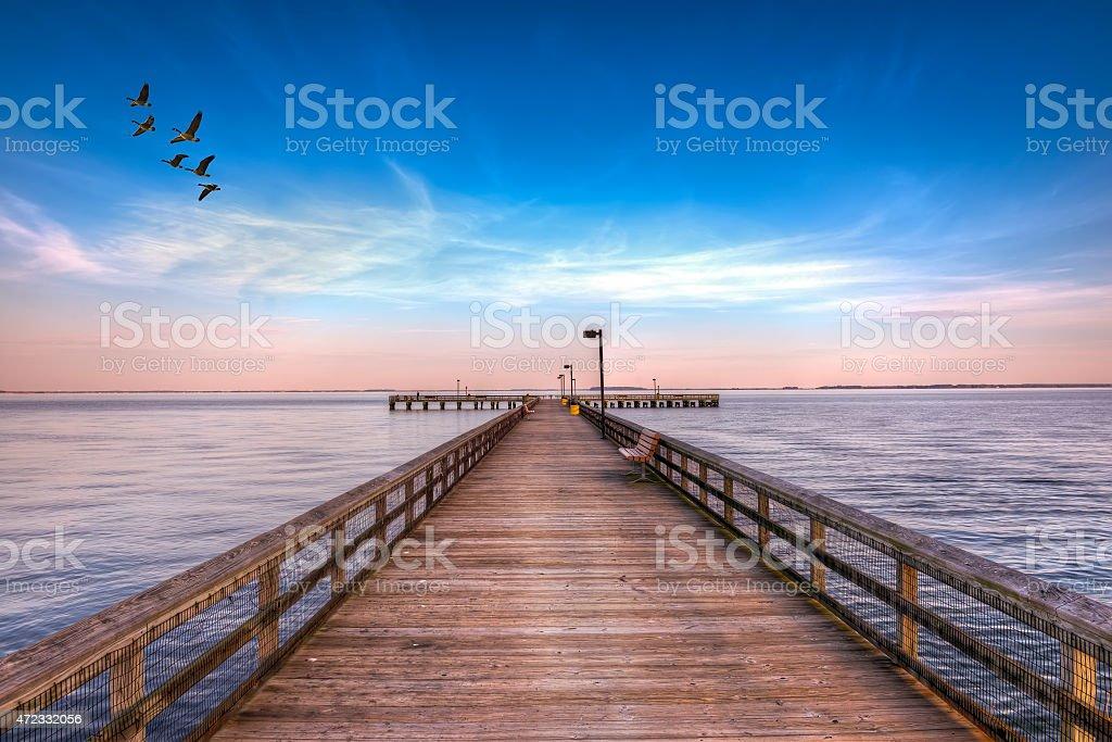 Pier into the Chesapeake stock photo