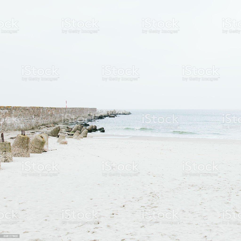 Pier made of stone in Baltiysk, Kaliningrad stock photo