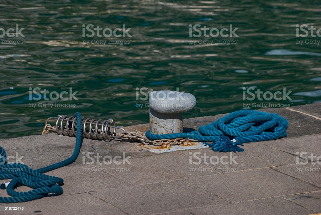 Pier mooring boat stock photo