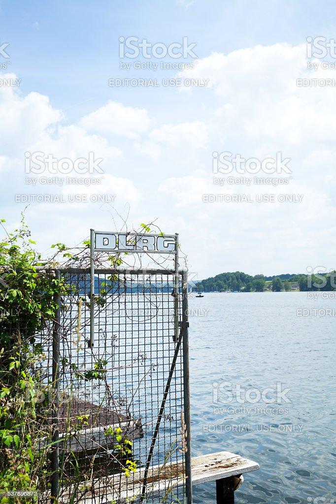 Pier of DLRG at lake Baldeneysee stock photo