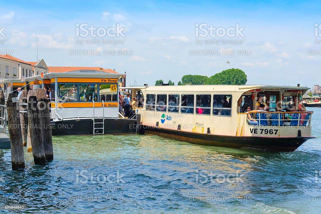 pier of public city voyage boats stock photo