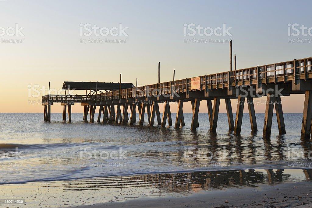 Pier of Tybee Island Beach royalty-free stock photo