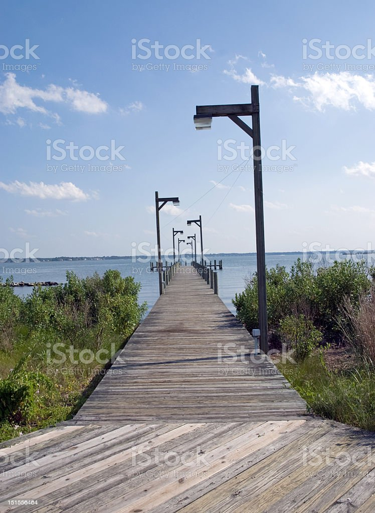Pier on a Delaware Bay royalty-free stock photo