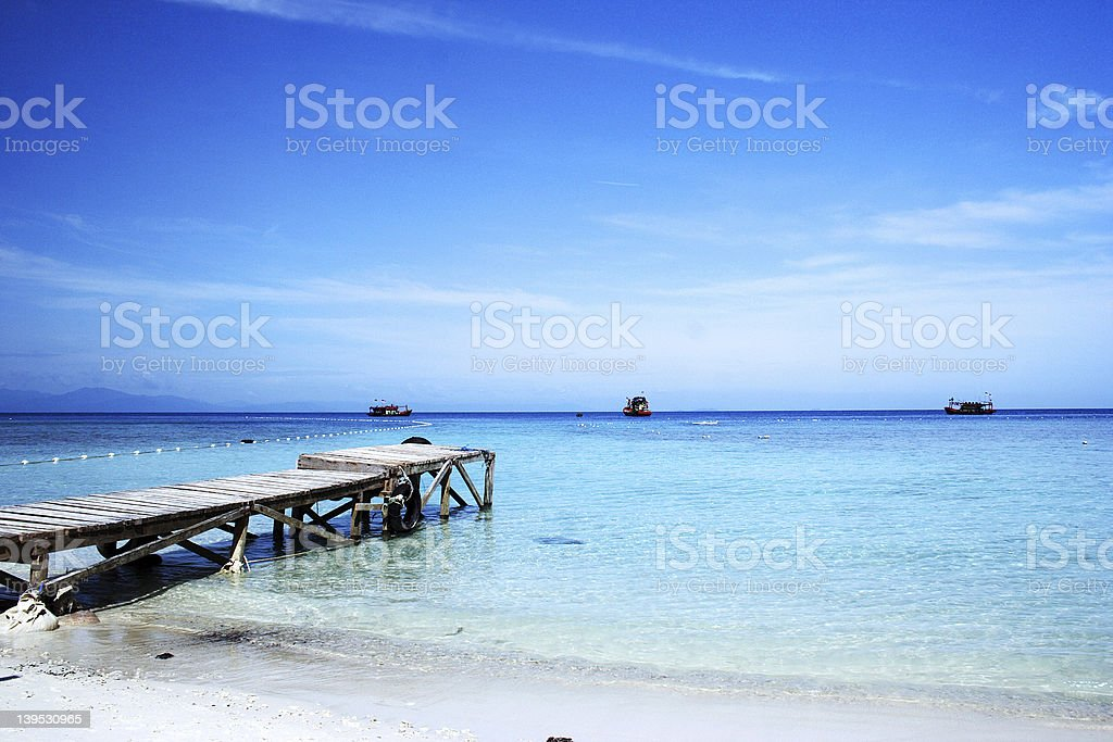 Pier on Beach royalty-free stock photo