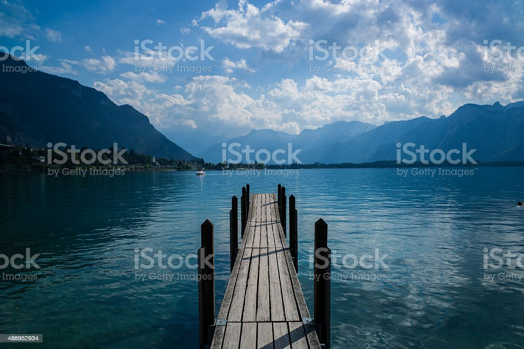 Pier on Lake Geneva stock photo