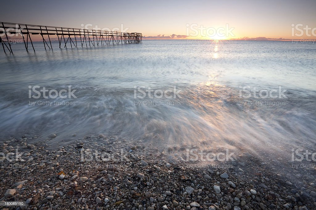 Pier on Lake Winnipeg stock photo