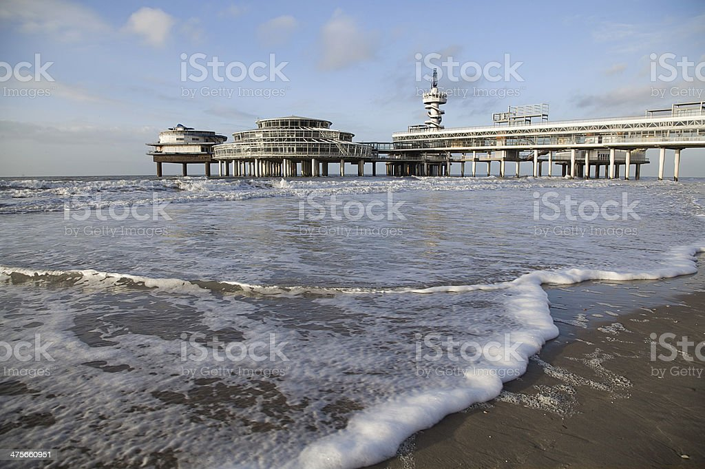 Pier on Scheveningen beach in Hague, Netherlands stock photo