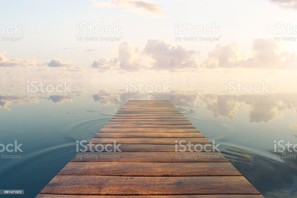 Pier on sky background stock photo