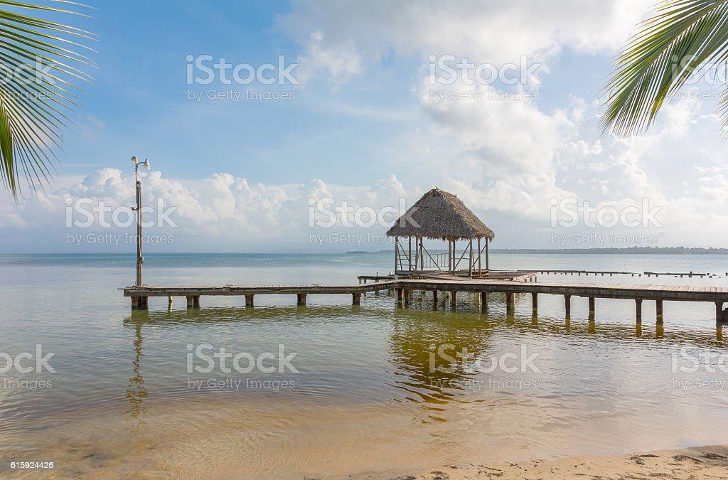 Pier on the beach stock photo