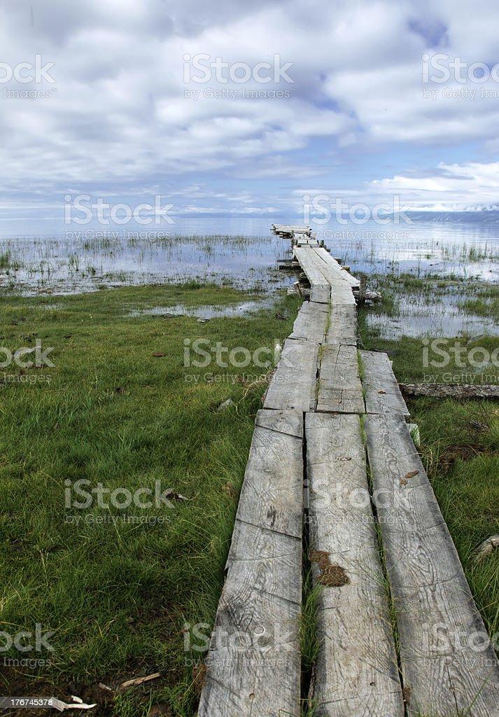 Pier on the lake royalty-free stock photo