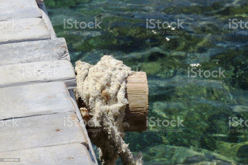 Pier, rope stock photo