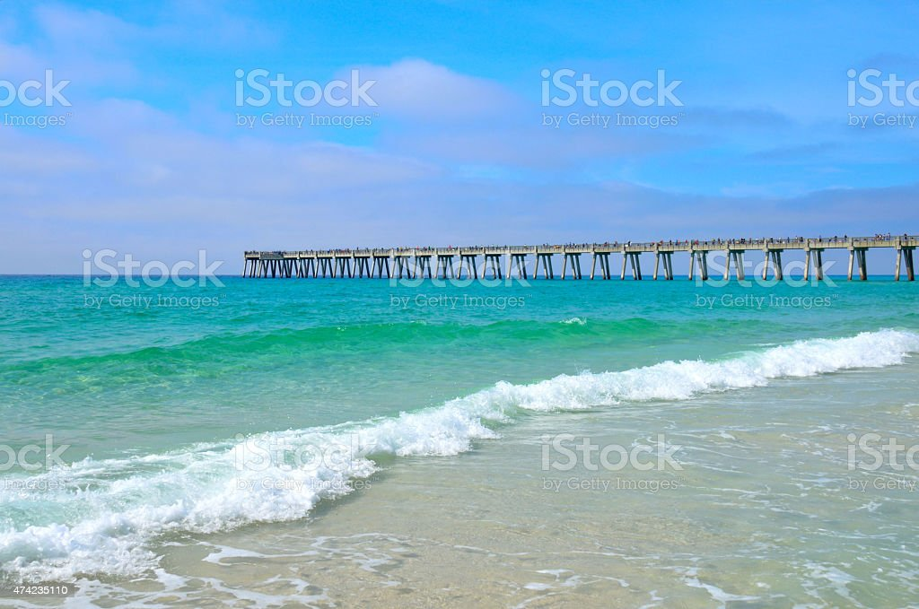 Pier stretching out over the Gulf of Mexico Ocean stock photo