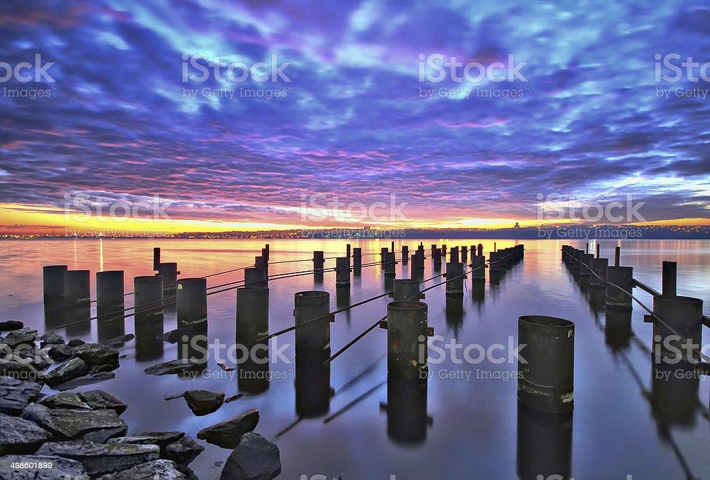 Pier Sunset long exposure stock photo
