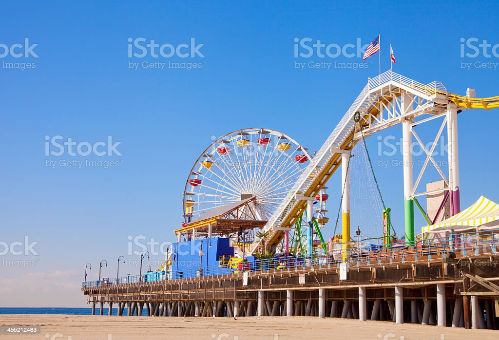 A pier that is located in Santa Monica, California  stock photo