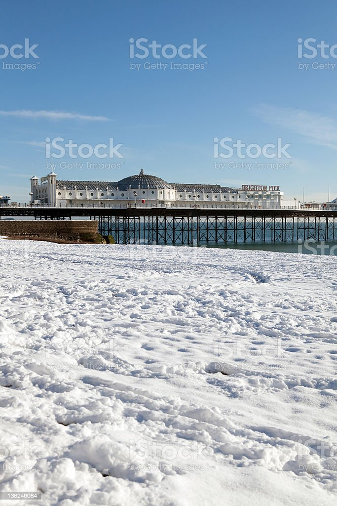 Pier winter snow brighton royalty-free stock photo