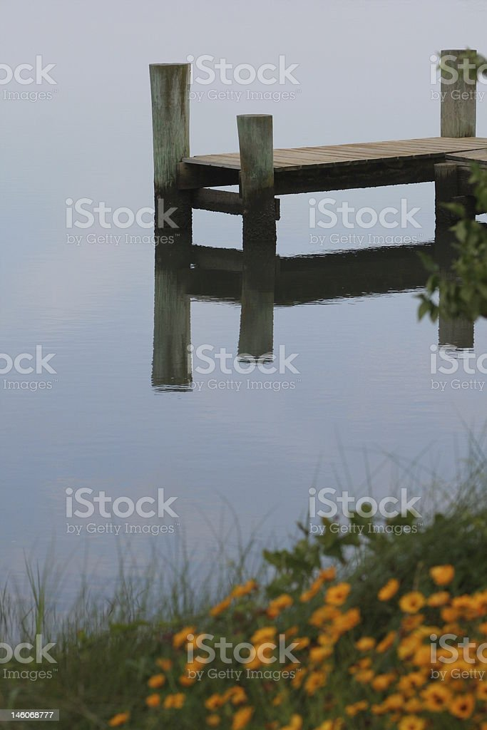 Pier with flowers royalty-free stock photo