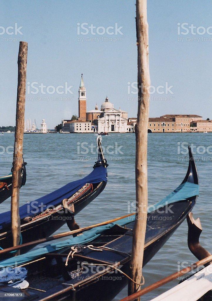 A pier with Gondolas stock photo