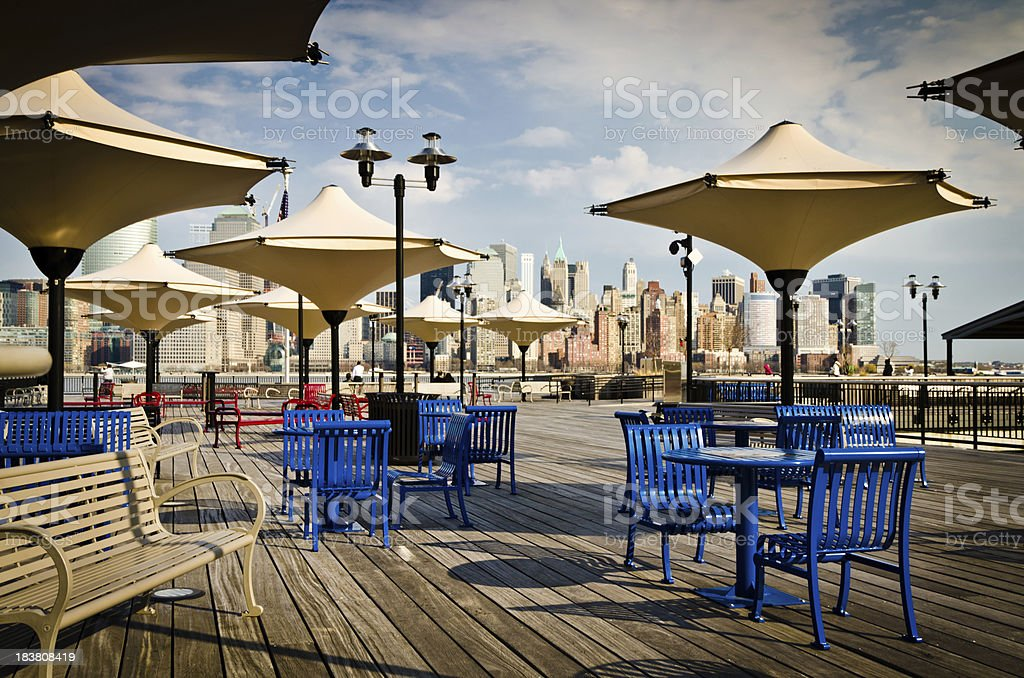 Pier with New York City Manhattan view stock photo