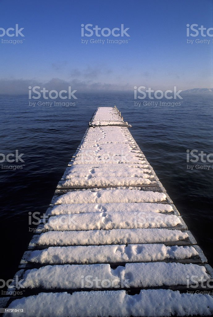 pier with snow royalty-free stock photo