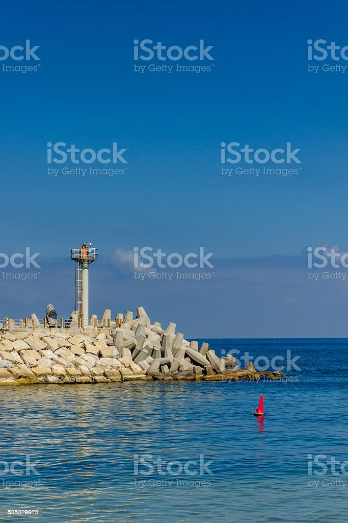 pier with view of the ocean stock photo