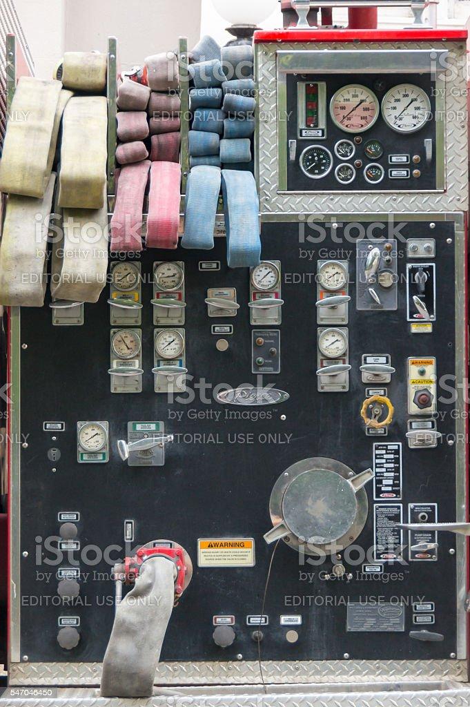 Pierce fire truck control panel stock photo