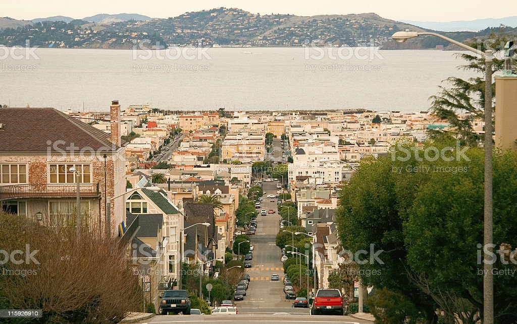 Pierce Street, Pacific Heights, San Francisco Bay Area royalty-free stock photo