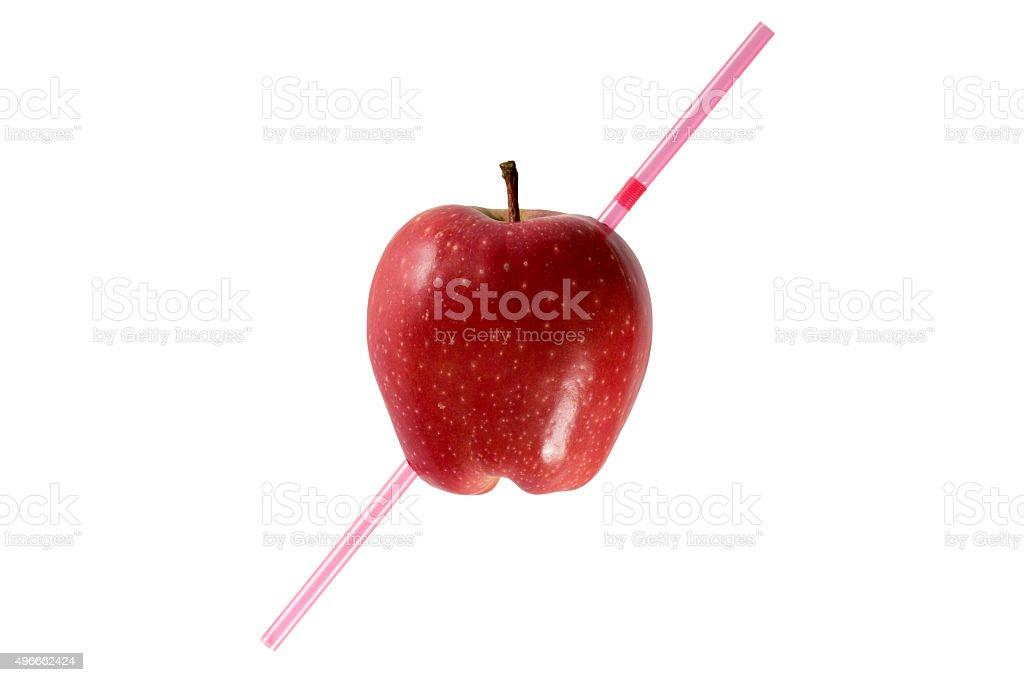 Pierced apple stock photo