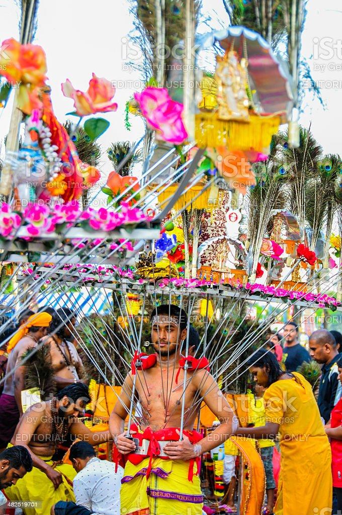 Pierced devotee with Vel Kavadi stock photo