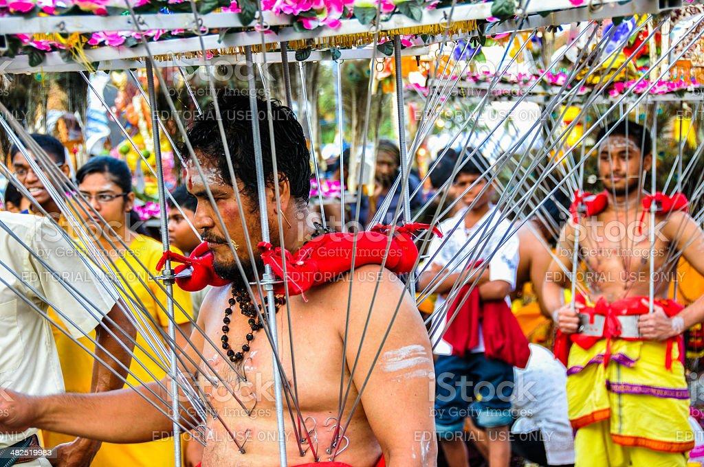 Pierced devotees with Vel Kavadi stock photo