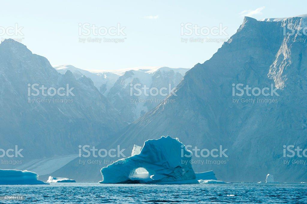 Pierced Iceberg- Scoresby Sound - Greenland stock photo