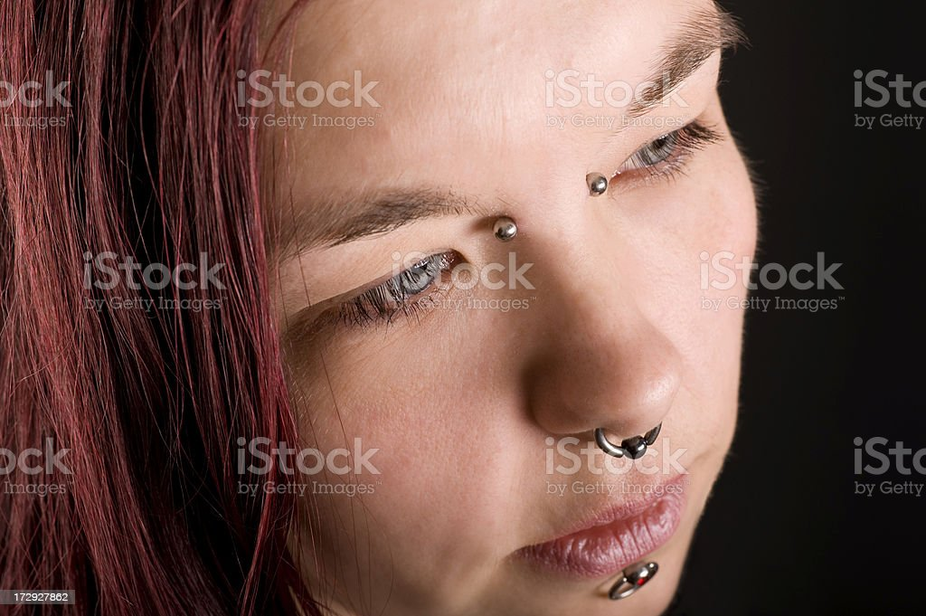 Pierced woman royalty-free stock photo