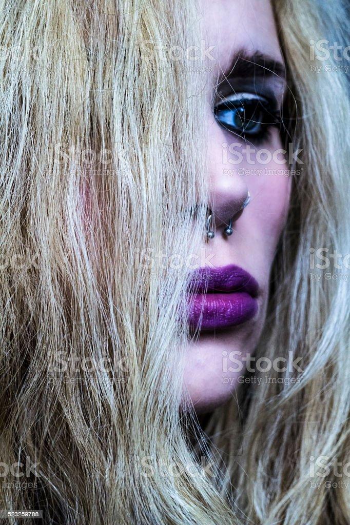 Piercing girl stock photo