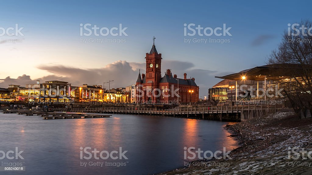 Pierhead Building at Cardiff Bay in Cardiff, UK (Twilight Shot) stock photo