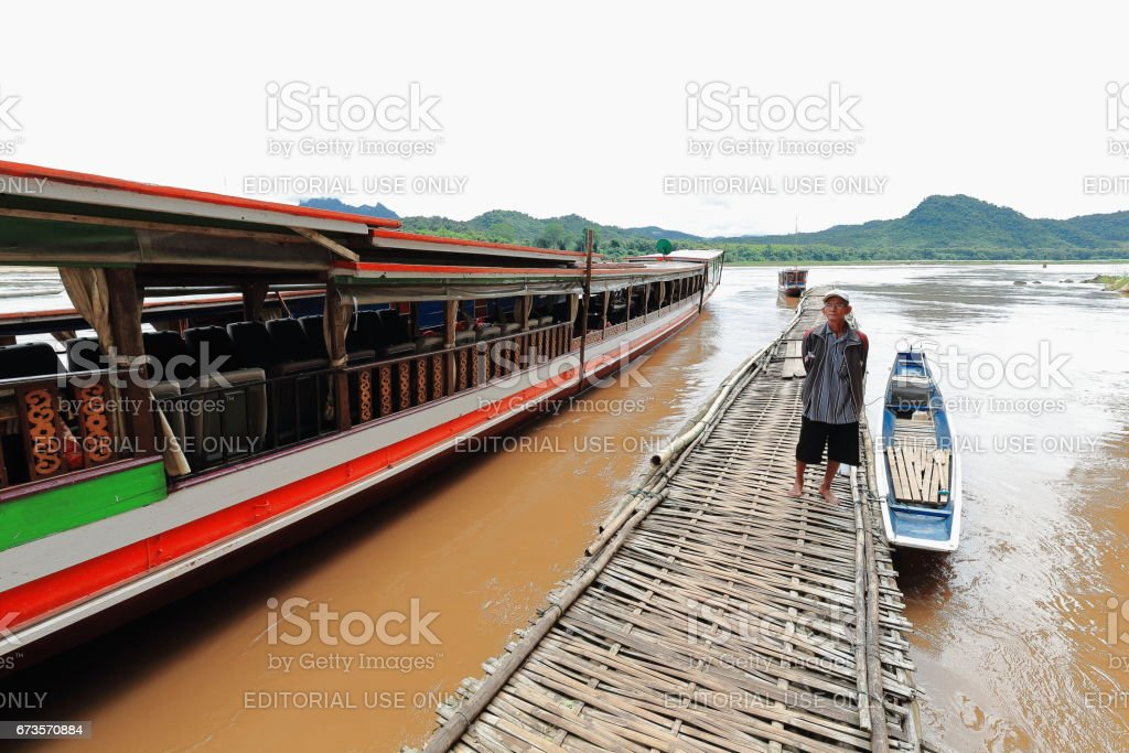 Pier-Mekong river-foot of Pak Ou caves. Luang Prabang province-Laos. 4329 stock photo