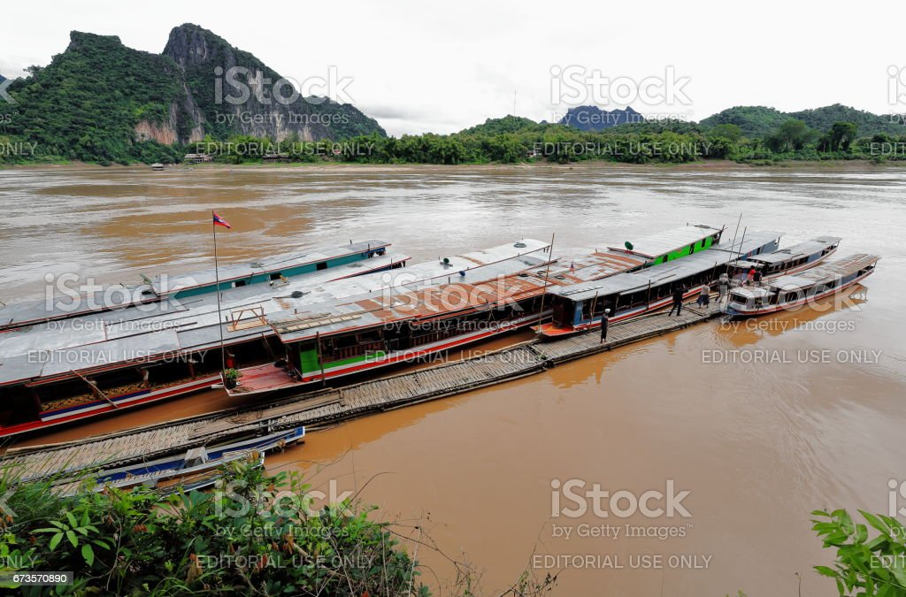 Pier-Mekong river-foot of Pak Ou caves. Luang Prabang province-Laos. 4349 stock photo