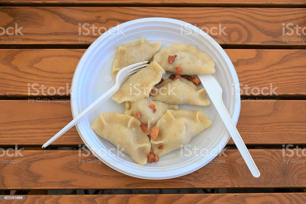 Pierogies with cracklings in a plastic plate stock photo
