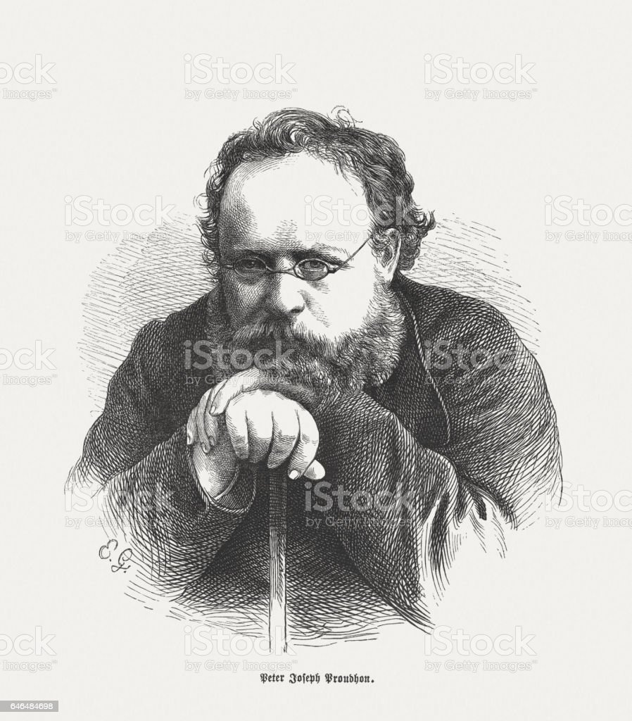Pierre-Joseph Proudhon (French politician, 1809-1865), wood engraving, published in 1865 stock photo